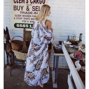 Arnhem Bowerbird Cinnamon Maxi Kimono